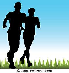 far, løbere, søn