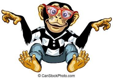 far male, cartone animato, scimpanzé