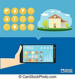 Controllo casa concept vettore casa bottone far for Aprire piani casa concetto