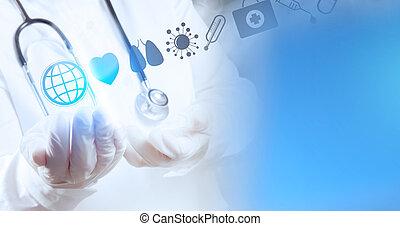 far male, dottore medico, lavorativo, con, sala operatoria, come, concetto