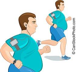 far male, peso, device., uomo grasso, perdita, vettore, jogging, illustration., addestramento, cardio