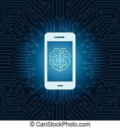 far male, telefono, con, cervello, immagine, icona, sopra, blu, circuito, scheda madre, fondo