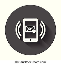 far male, telefono, con, email, simbolo, su, il, screen., vettore, illustrazione, in, appartamento, stile, con, lungo, shadow.