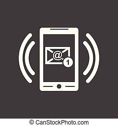 far male, telefono, con, email, simbolo, su, il, screen., vettore, illustrazione, in, appartamento, stile, su, nero, fondo.