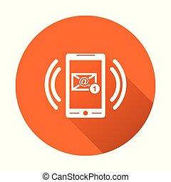 far male, telefono, con, email, simbolo, su, il, screen., vettore, illustrazione, in, appartamento, stile, su, rotondo, arancia, fondo.