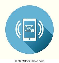 far male, telefono, con, email, simbolo, su, il, screen., vettore, illustrazione, in, appartamento, stile, su, rotondo, blu, fondo.
