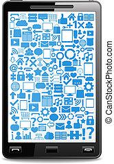 far male, telefono, con, icone, su, il, schermo