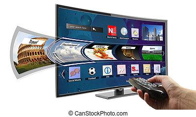 far male, tv, con, apps, e, titolo portafoglio mano,...