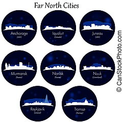 Far north cities collection. Blue Circular icons