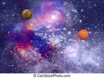 far-out planets in a space against stars