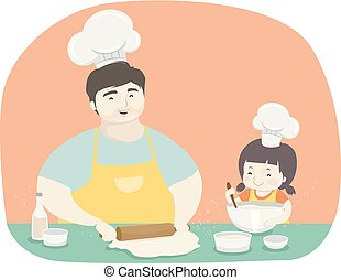 far, pige, bagning, illustration, barnet