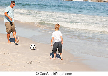 far, spille fodbold, hos, hans, søn