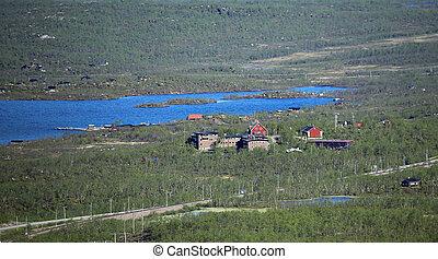 Far view on Abisko in Northern Sweden