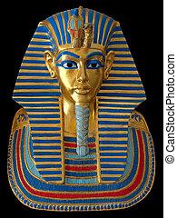 faraón, antiguo, máscara, oro, egipcio