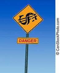 fara, dollar, framåt, underteckna