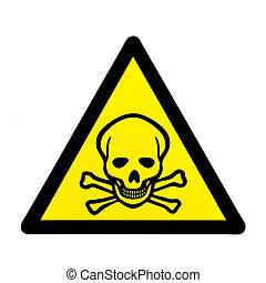 fara, till, liv, skull och crossbones, varning tecken