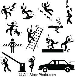 fara, varning, olycka, säkerhet, underteckna
