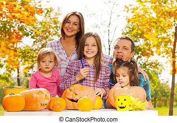 farag, ijedős, sütőtök, kert, család