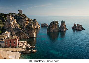 Faraglioni rocks and Tonnara in Scopello