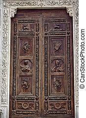 faragott, wooden ajtó, székesegyház, közül, szent, croce,...