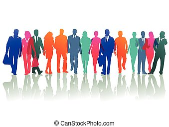 Colored groups and individuals on the street