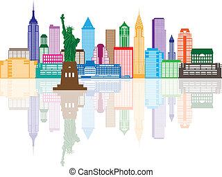 farba miasta, ilustracja, sylwetka na tle nieba, york, nowy
