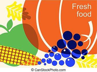 farbe, abbildung, ernte, vegetables., fest, herbst