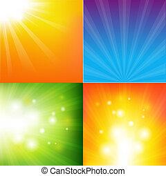 farbe, abstrakt, sunburst, hintergrund