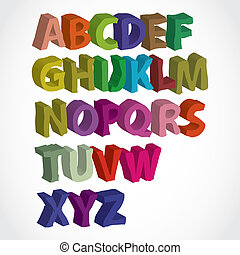 farbe, alphabet, lettered, 3d, hand
