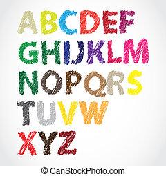 farbe, alphabet, lettered, hand