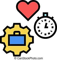 farbe, arbeit, zeit, frei, ikone, vektor, abbildung