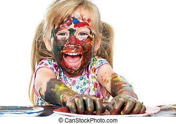 farbe, aufgeregt, paint., spaß, m�dchen, haben