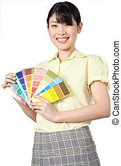 farbe, ausstellung, frau, asiatisch, tabelle