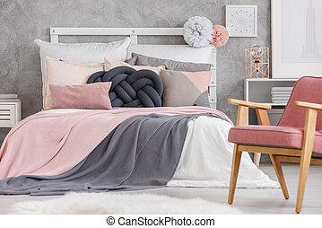 farbe, bedsheets, weich, bett
