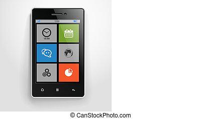 farbe, beweglich, modern, schnittstelle, telefon