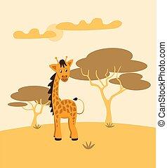 farbe, bezaubernd, abbildung, monochrom, design., reizend, gelb-orange, wüste, vektor, cartoon., karikatur, kinder, tier, zeichen, landschaft., hintergrund, giraffe