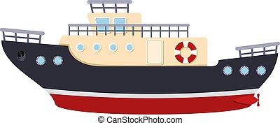 farbe bild, weißes, abbildung, style., hintergrund., vektor, meer, schiff, karikatur, transport, zerren