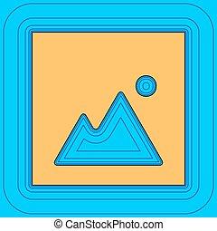 farbe, -, bild, zeichen, kontur, blaues, feld, himmelsgewölbe, hintergrund., schwarz, konturen, vector., ikone, landkarte, equidistant, sea., wellen, illustration., mögen, insel, wasserlandschaft, sand, oder