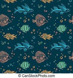 farbe, blasen, markt, grobdarstellung, hintergrund., pattern., muster, aquarium, seamless, vektor, gewebe, endlos, papier, scrapbooking, verpackung, fische, blaues, childrens, kasten