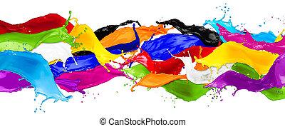 farbe, breit, abstrakt, spritzer