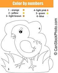 farbe, chicken., färbung, zahlen, seite