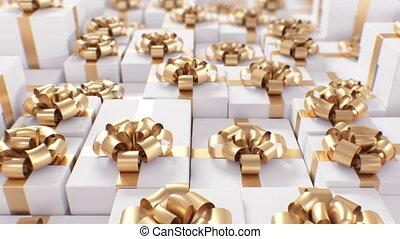 farbe, concept., bänder, geschenk, feiertag, ultra, 4k, schöne , bows., blur., 3d, perspektive, animation, goldenes, 3840x2160., hd, dof, endlos, weißes, geschlungen, ansicht, kästen, geschenke, reihen