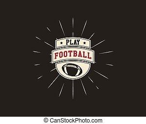 farbe design, logo, monochrom, template., element., stil, usa, weinlese, sport, gezeichnet, sunburst, emblem, fußball, symbol., hand, etikett, identität, rugby, lettering., amerikanische , vektor