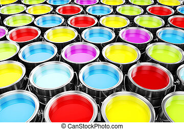 farbe, eimer, bunte, render, 3d