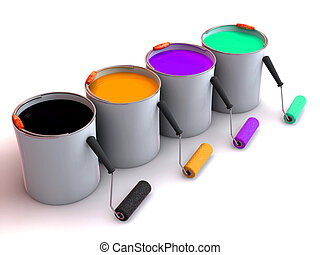 farbe, eimer, rollen, bürste
