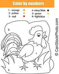 farbe, färbung, zahlen, rooster., seite