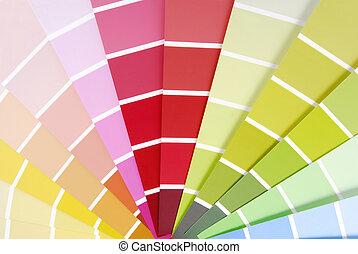 farbe, führer, tabelle, probeflasche