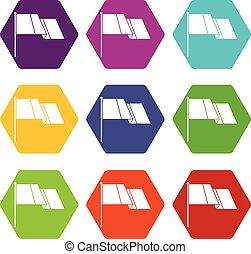 farbe, fahne, satz, hexahedron, ikone