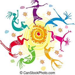 farbe, figuren, tanzen, kreis