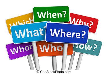 farbe, fragen, zeichen & schilder